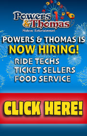 Powers and Thomas Midway Entertainment is now hiring carnival ride help, food concession help, and ticket sellers.  Bunk house provided!  Call Ed 813-335-5298