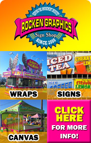 Rocken Graphics specializes in ride, concession, and trailer wraps for the amusement industry.  In addition to wraps, Rocken Graphics is also a one source sign shop providing game & concession signs, ride signs, midway signs, a-frame signs, and much more.