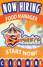Smokeys Greater Shows is now booking non conflicting rides, games, and food for the upcoming 2020 season.  We are also hiring ride help, electricians, welders, and more.  CDL drivers are a plus!