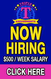 Triple T Amusements is now hiring RIDE, GAME, and FOOD HELP for its 2021 season!  $500 a WEEK SALARY!  Special BONUS for CDL drivers!  Call (817) 847-0888