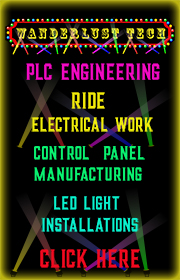 Amusement Ride PLC Design, Ride Electrical Repair, Lighting Systems and Control Panel Design - call Charl 469-237-6215