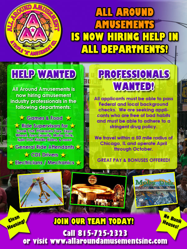 All Around Amusements is now hiring!  Click to email!