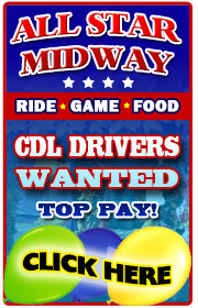 All Star Midway is now hiring help in all departments for the 2018 season- ESPECIALLY CDL and Ball Hitch Drivers (TOP PAY), Electricians, Mechanics, Food and Game Help, General Ride Help, and  more!  Call Joe at 516-241-9700