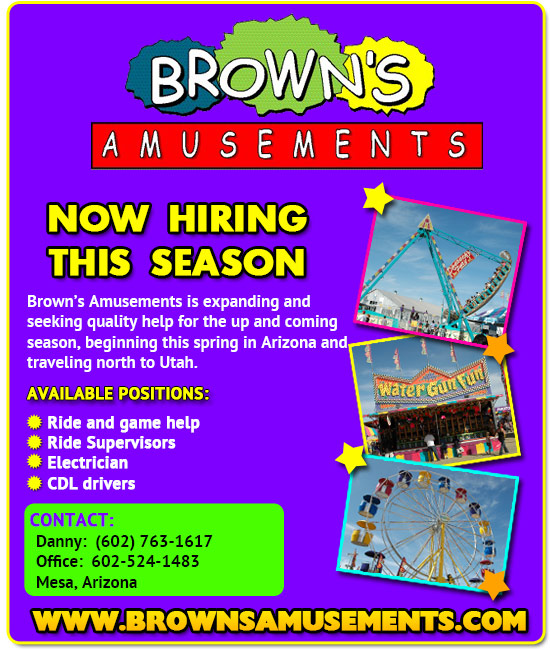 Browns Amusements is now hiring