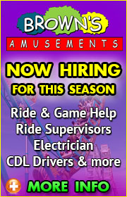 Browns Amusements is now hiring ride help, game help, food help, electrician, and CDL drivers for the 2018 season.  Call Danny at (602) 763-1617 for more info or visit brownsamusements.com.
