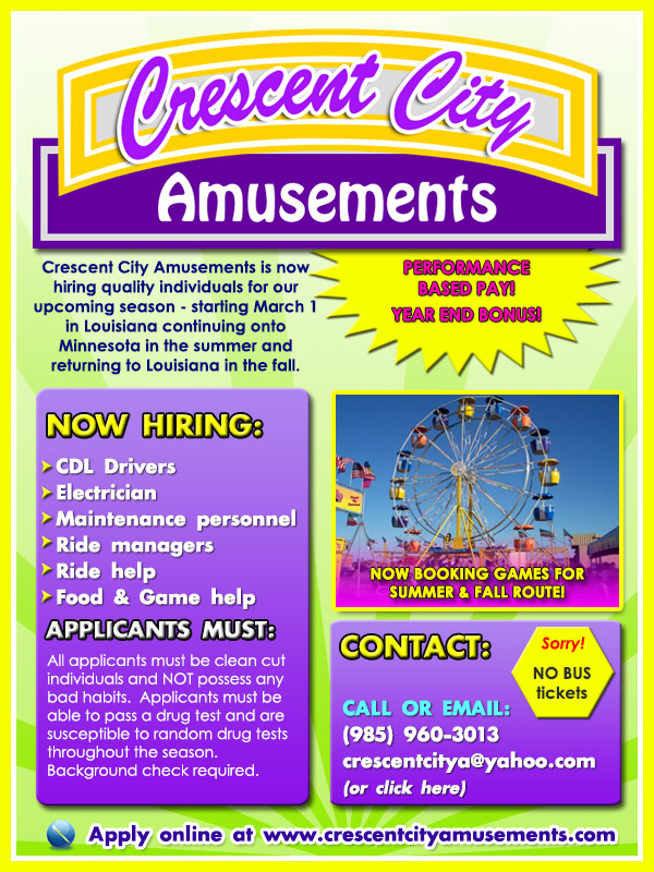Crescent City Amusements is now hiring!
