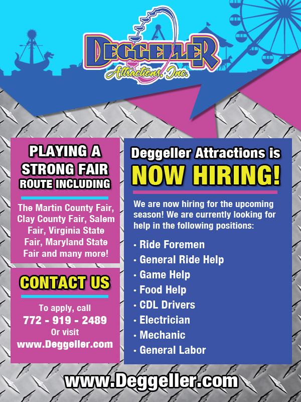Deggeller Attractions is now hiring.  Click here!