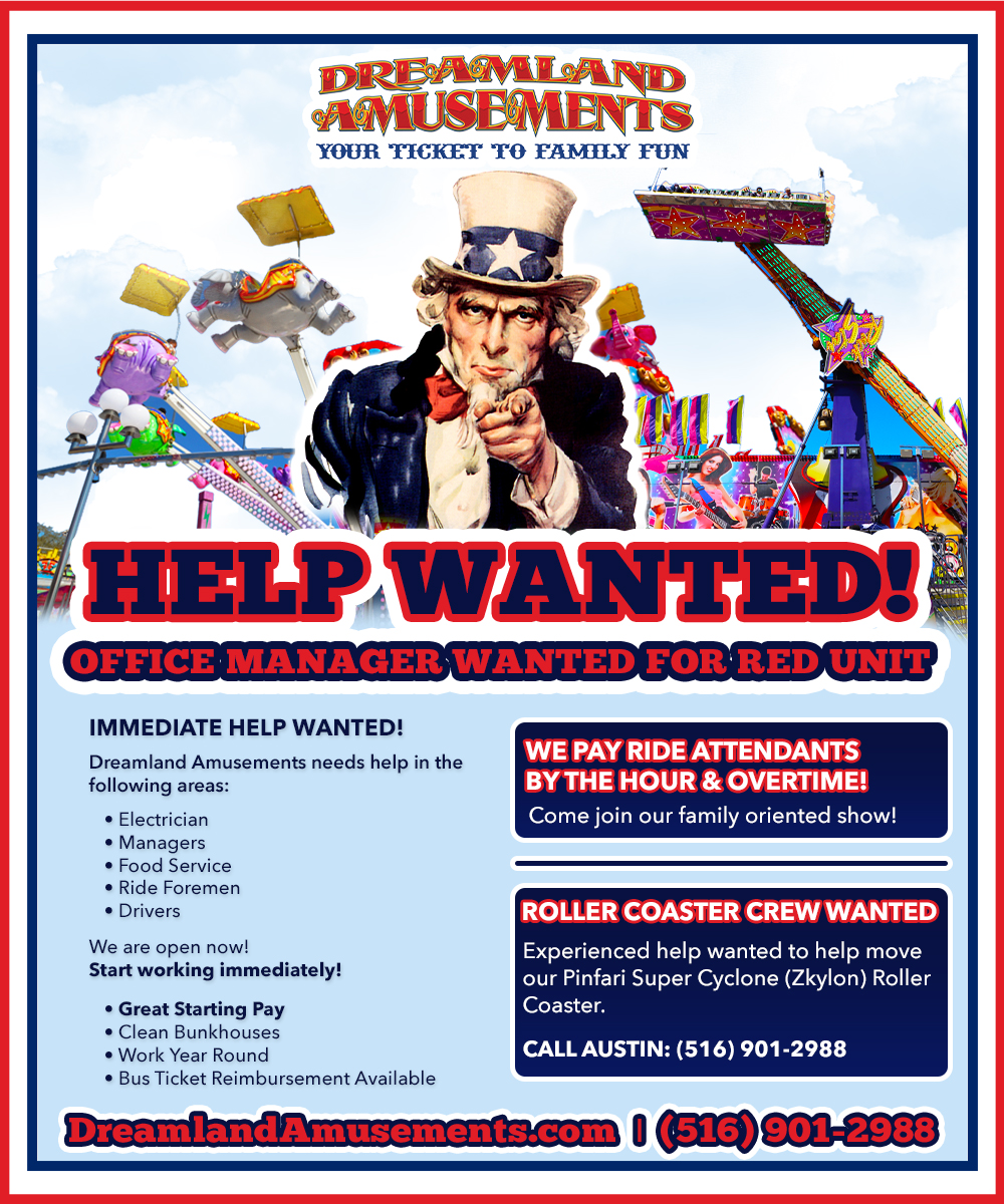 Dreamland Amusements is now hiring.  Click here to contact us!