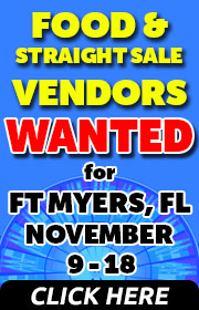 Fair Productions is seeking FOOD, NOVELTY, AND STRAIGHR SALE VENDORS for the Fair at Fenway South in Ft. Myers Florida, November 9-18, 2018