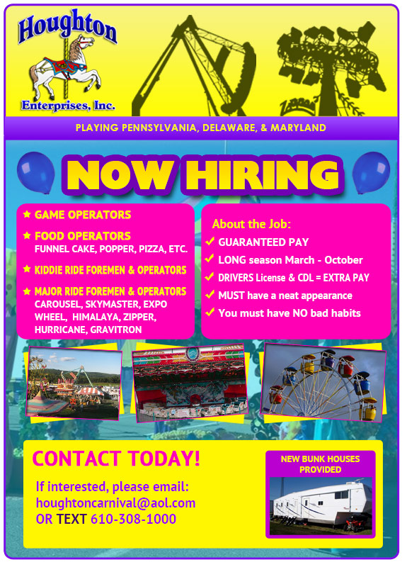 Houghton Carnival is now hiring!  Click to email!