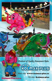 KOLMAX Plus is a amusement ride manufacturer based in the Chezh Republic that produces quality amusement attractions such as the Dumbo the Flying Elephant and many more.
