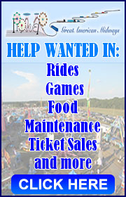 Powers Great American Midways is NOW HIRING help in ALL departments including rides, games, food, drivers and more!  Call Phil at 910-409-0363 OR Brian at 407-252-8033.