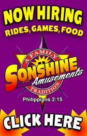 SONSHINE AMUSEMENTS is hiring help for the 2018 season!  Start immediately!  Work in MO throughout the summer months and southern states during the fall, spring, and winter.  Help wanted for Rides, Games, Food and much more!  Call Ashley at 205-999-3811.