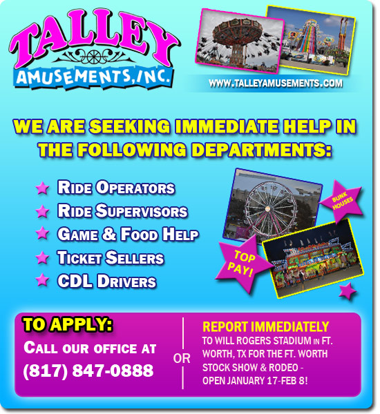 Talley Amusements is now hiring