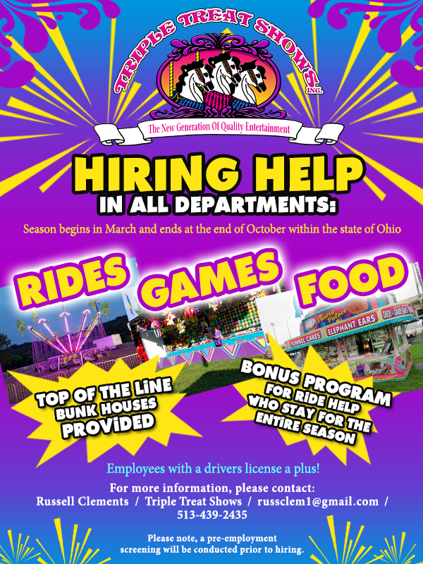 RIDE HELP WANTED - EMPLOYEE BONUS OFFERED